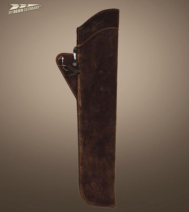Seitenköcher aus Wildleder in dunkelbraun