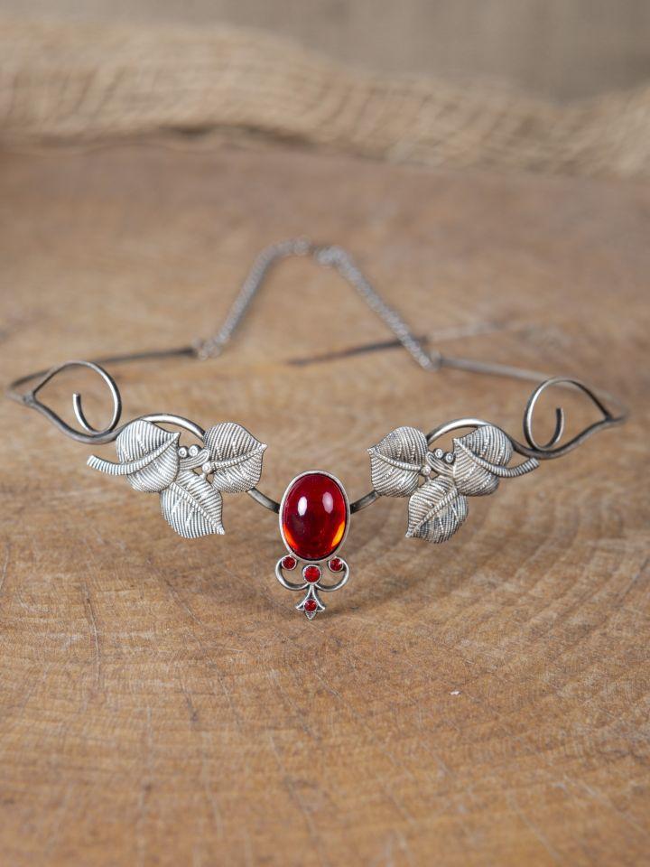 Kronen-Tiara mit Blättern und rotem Schmuckstein