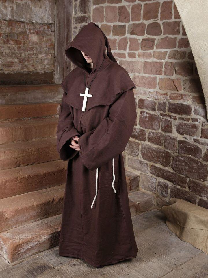 Mönchskutte (mit Kapuze und Seil) braun   mit Kreuz