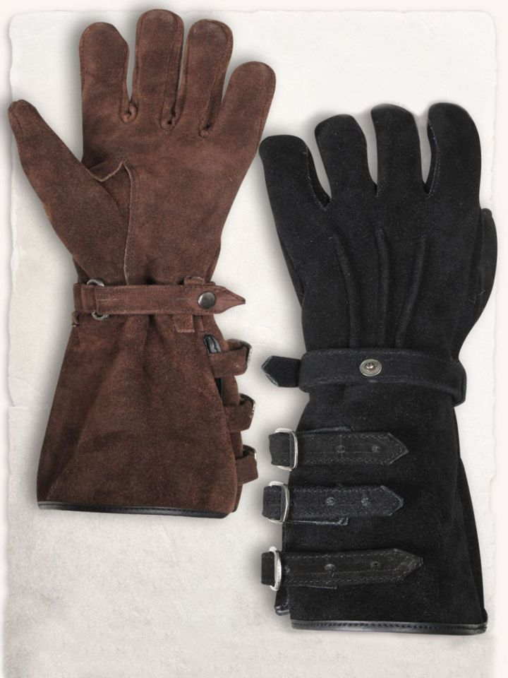 Stulpenhandschuhe mit Schnallen M | braun