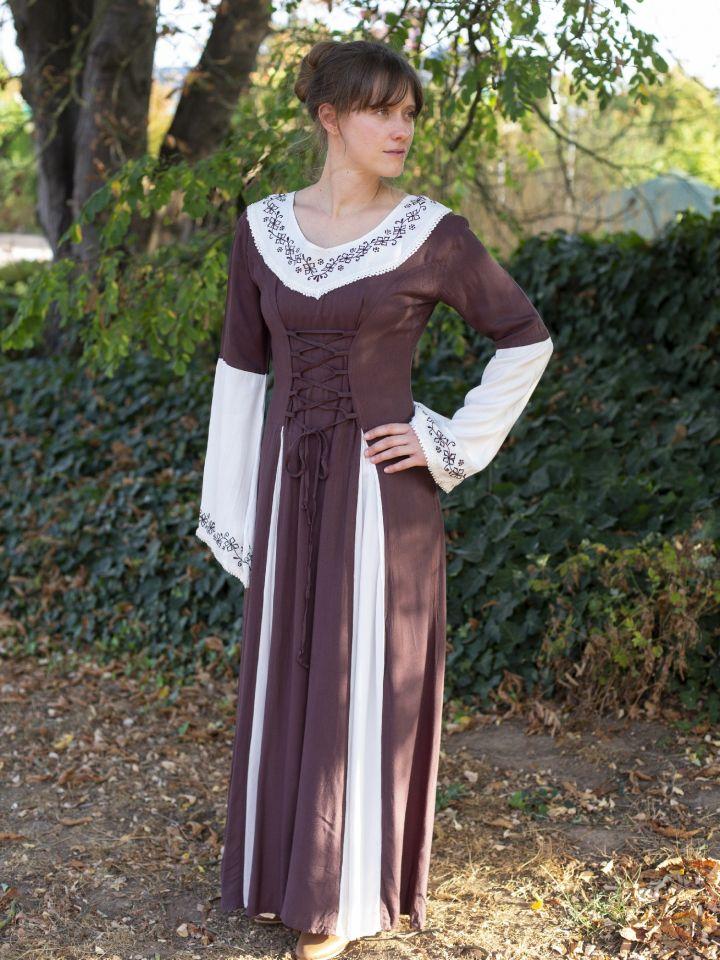 Mittelalterkleid mit Stickerei braun-weiß S/M