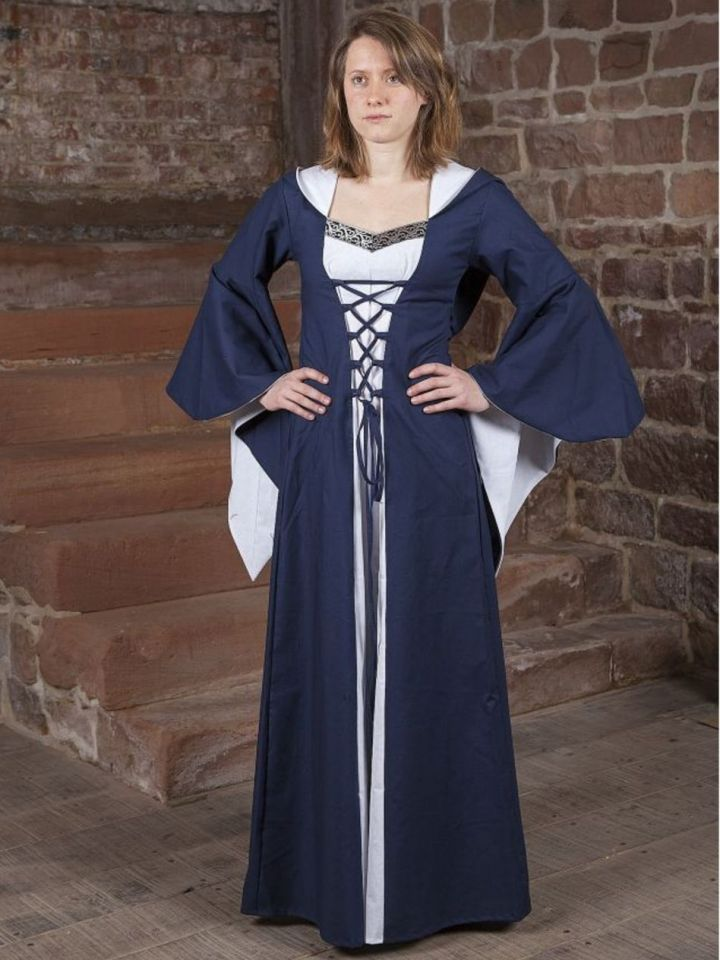 Mittelalterkleid Luca blau-weiß 38