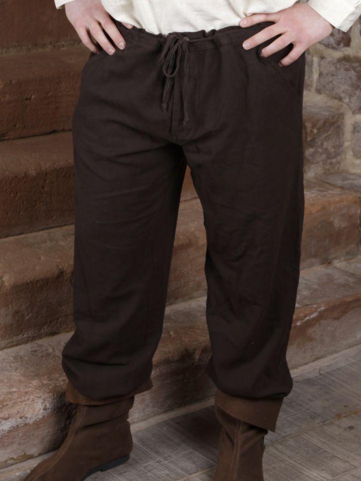 Baumwollhose mit Schnürung dunkelbraun S