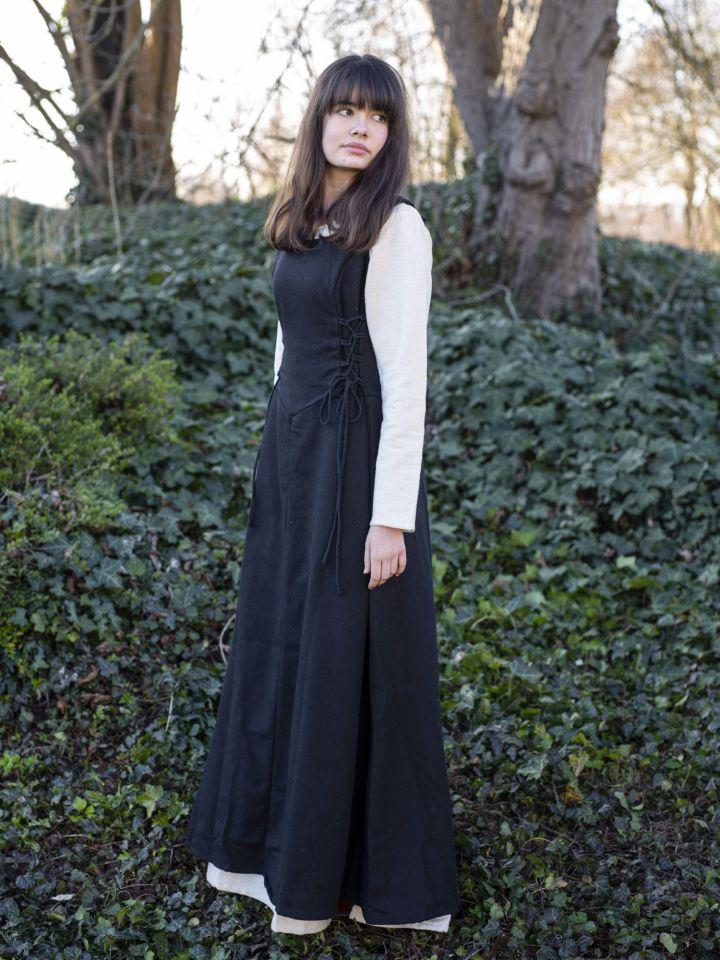 Ärmelloses Trägerkleid aus Canvas schwarz L