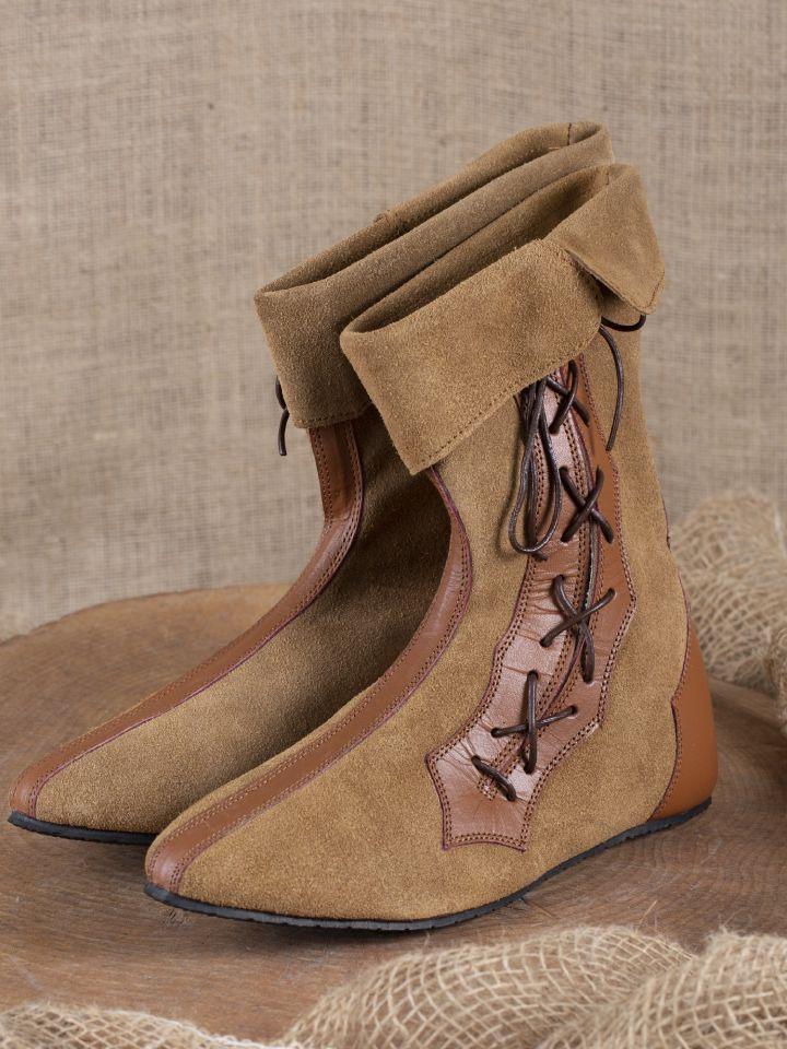 Mittelalter Stiefel mit Seitenschnürung braun