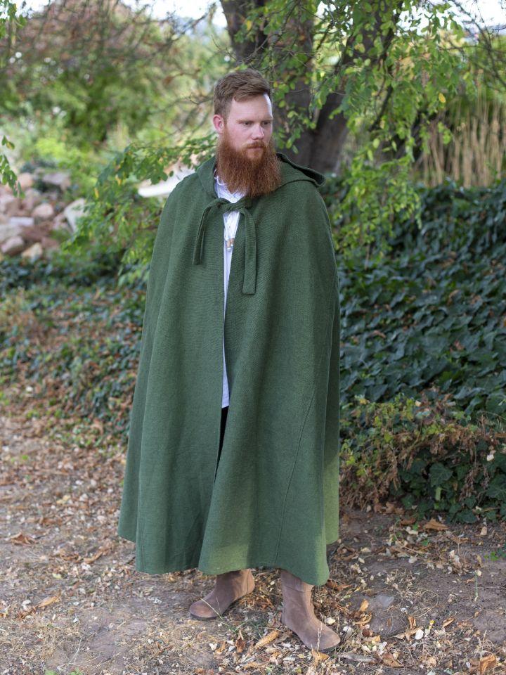 Kapuzenumhang aus Baumwolle grün