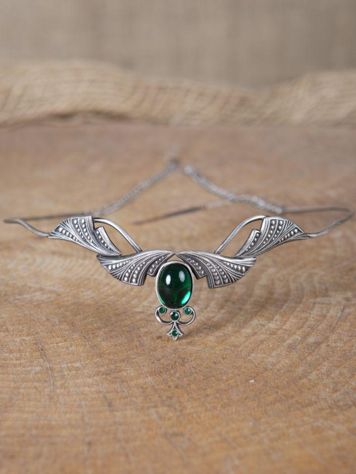 Edle Tiara mit Krönchen und dunkelgrünem Stein