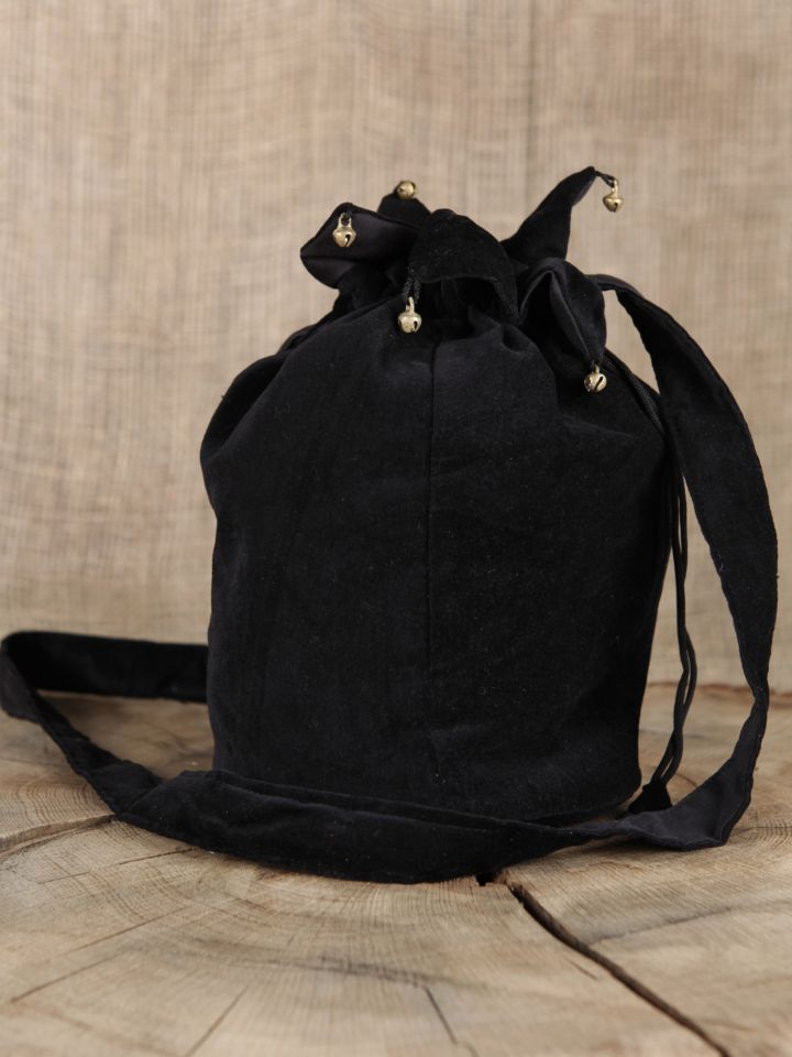 Umhängetasche (aus Samtstoff) schwarz