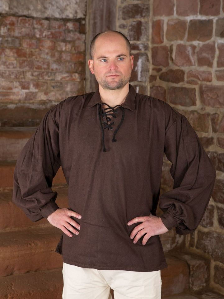 Baumwollhemd mit Kragen braun XL
