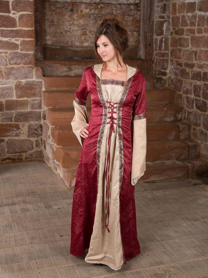 Mittelalterkleid mit Kapuze in rot-natur S/M