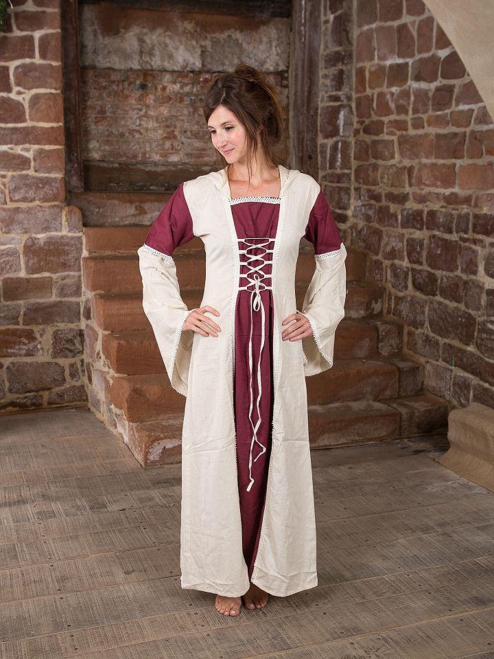 Kleid mit Kapuze - natur-bordeaux