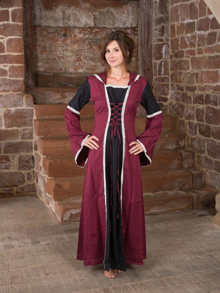 Kleid mit Kapuze - schwarz-bordeaux
