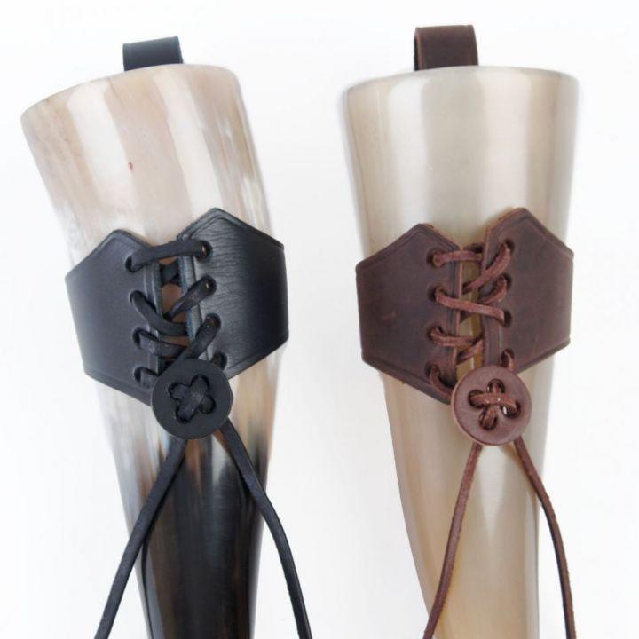 Trinkhornhalter zum Schnüren groß | schwarz