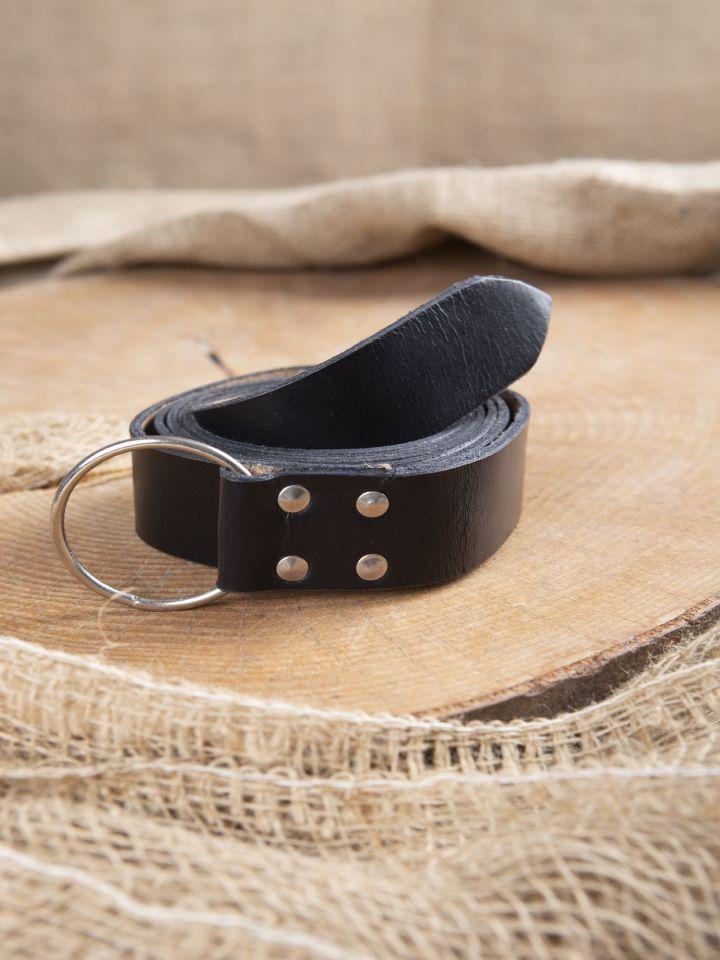 Stabiler Ringgürtel aus schwarzem Leder 150 cm