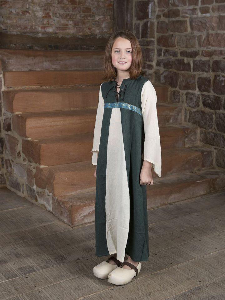 "Kinderkleid ""Piccolina"" grün-natur 164/172"