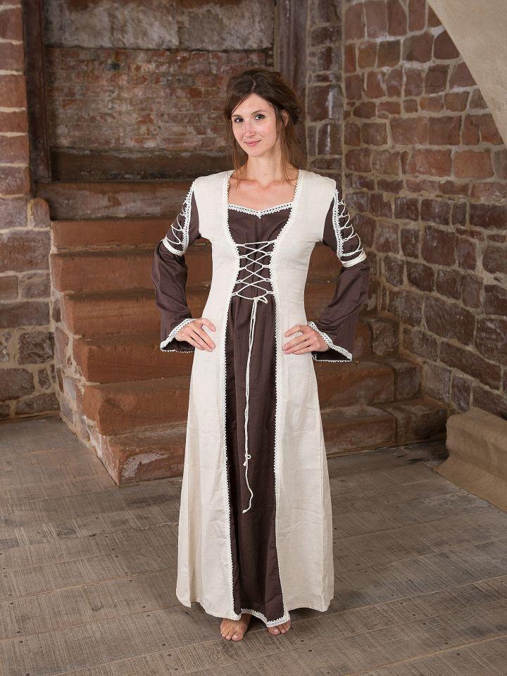 Mittelalterkleid Martha, braun-natur