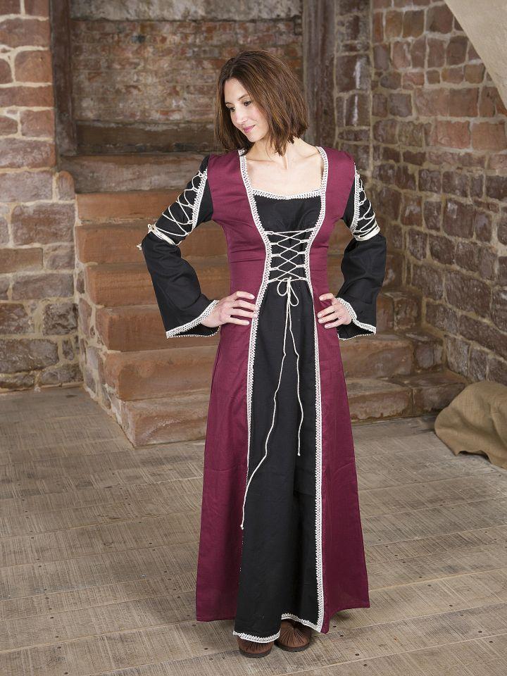Mittelalterkleid Martha, schwarz-bordeaux
