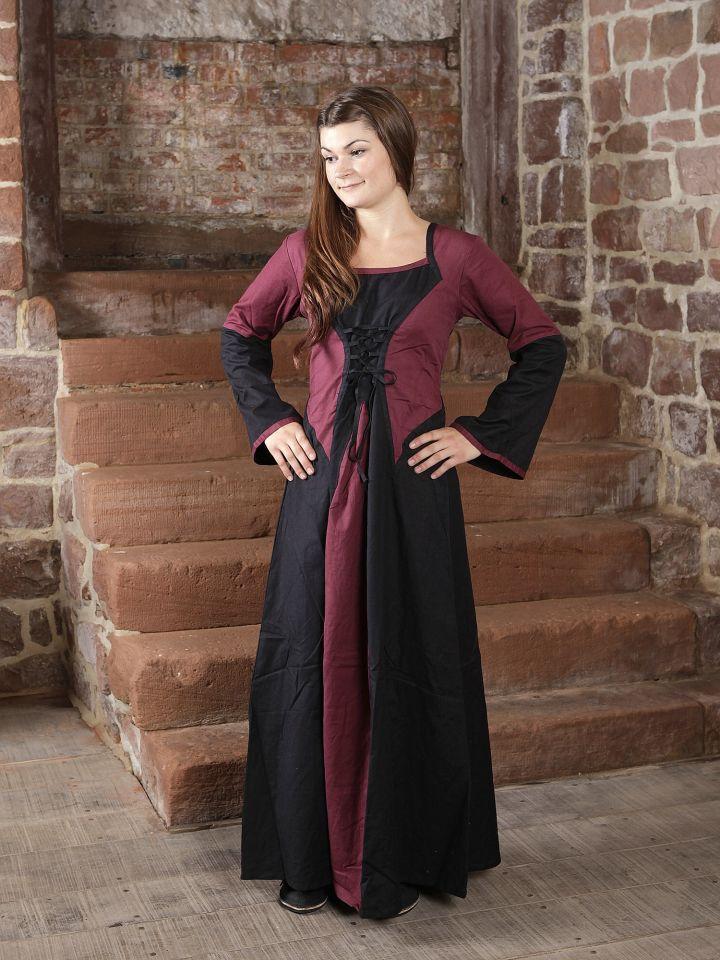 Kleid zweifarbig mit Schnürung in schwarz-bordeaux