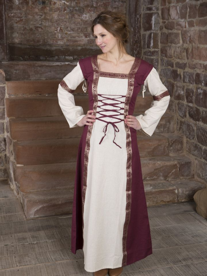 Mittelalterkleid mit abnehmbaren Ärmeln rot-natur
