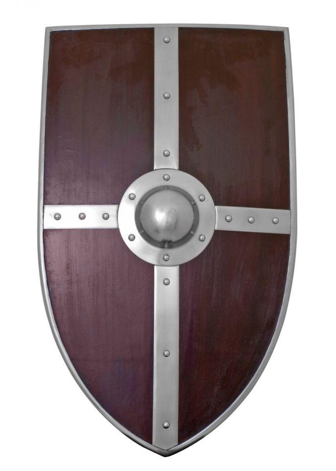 großer Holzschild in Wappenform