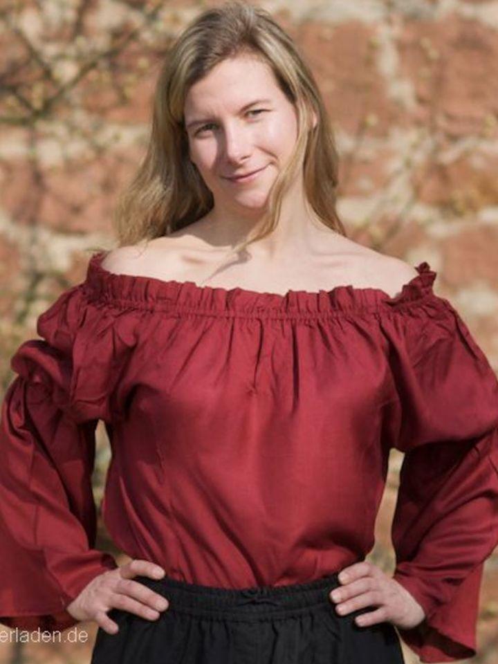 Mittelalterbluse aus Viskose rot S/M