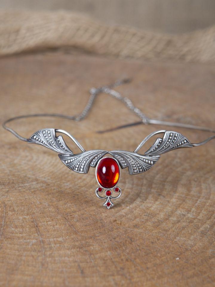Edle Tiara mit Krönchen und rotem Stein