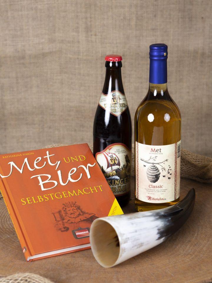 """Geschenkset """"Met und Bier"""" mit Trinkhorn"""