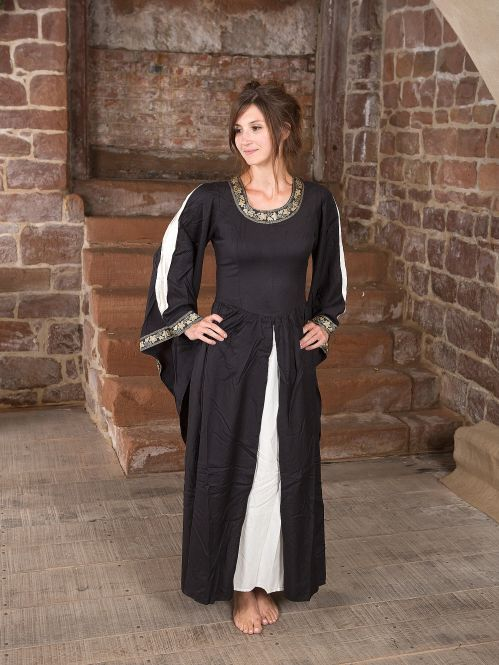 Edles Kleid mit Bordüre schwarz-natur