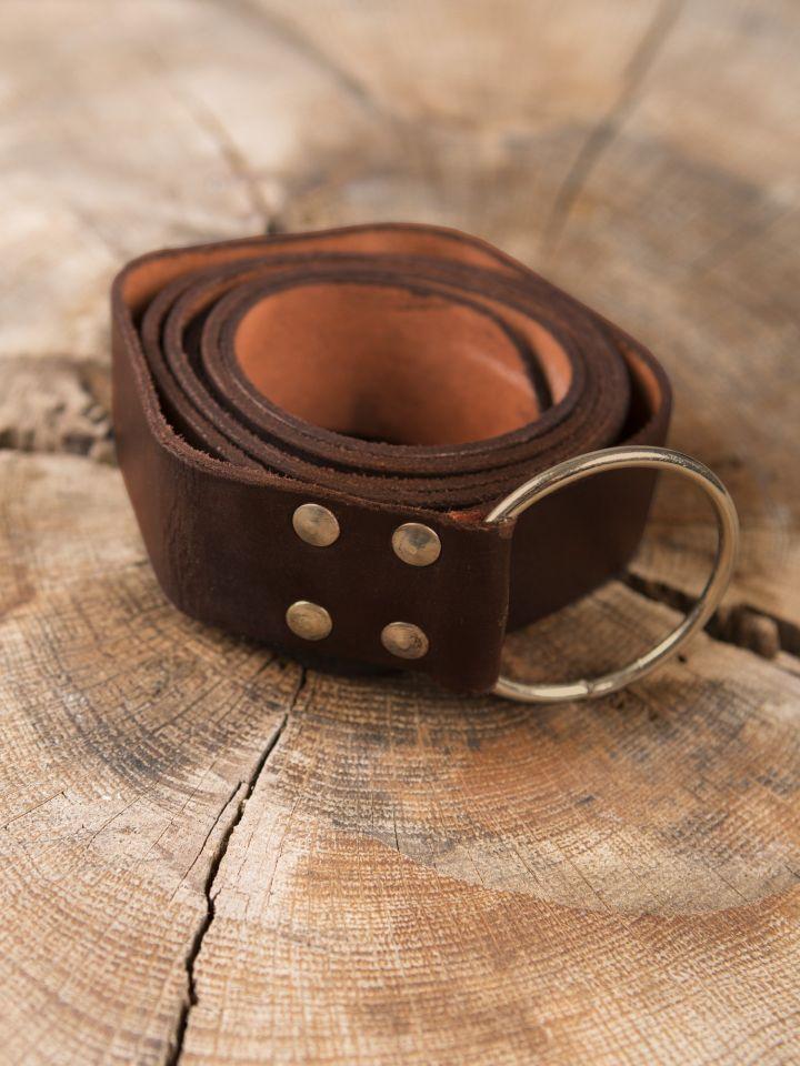 Stabiler Ringgürtel aus braunem Leder 190 cm