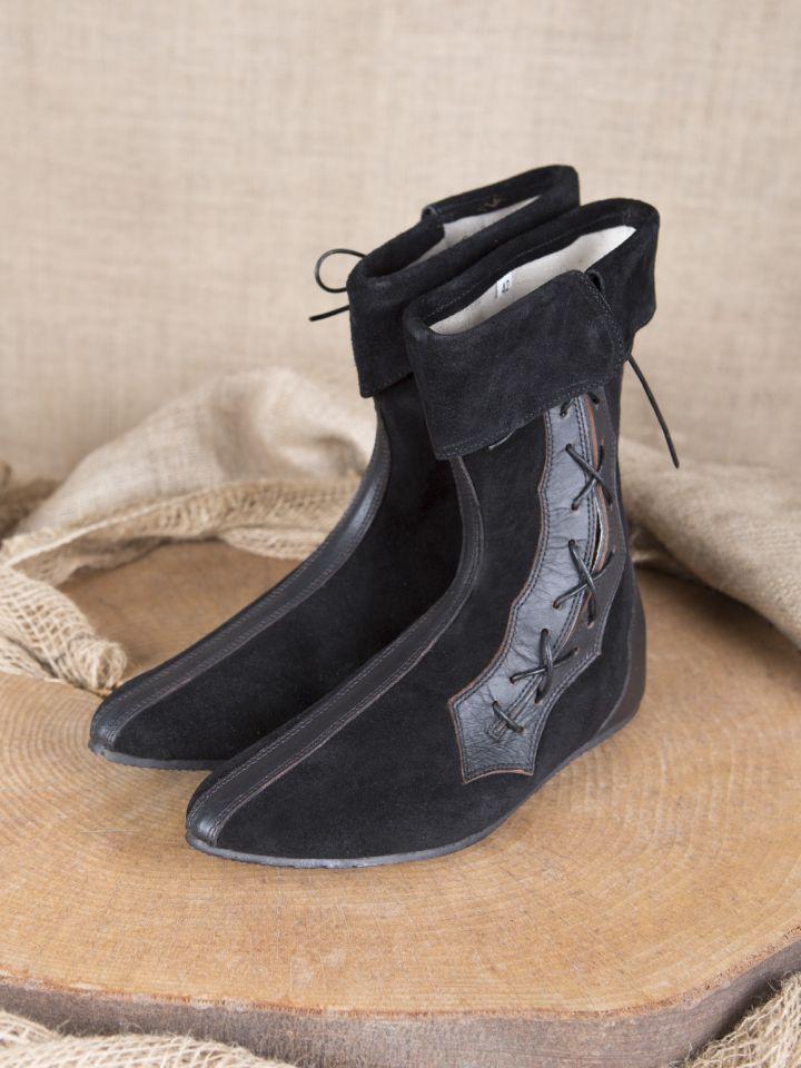 Mittelalter Stiefel mit Seitenschnürung schwarz