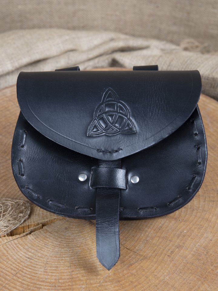 Ledergürteltasche mit keltischer Prägung schwarz