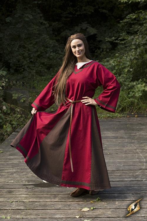 Kleid Astrid rot-braun