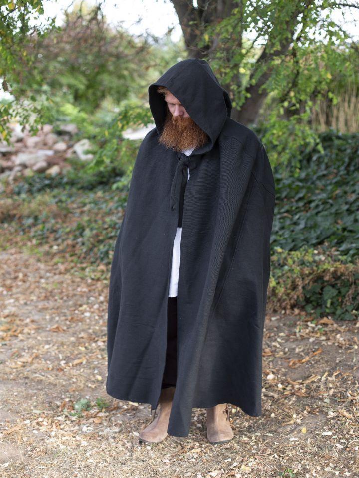 Kapuzenumhang aus Baumwolle schwarz