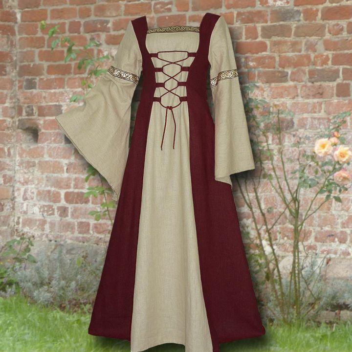 Kleid Elisabeth weinrot-sand