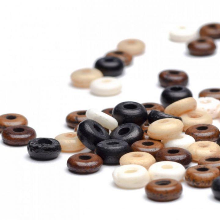 Flache Knochen-Perle 6 mm natur