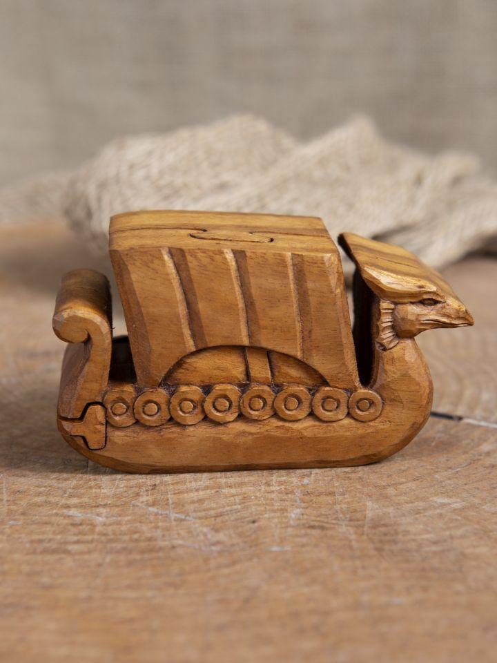 Holzdose Wikingerschiff
