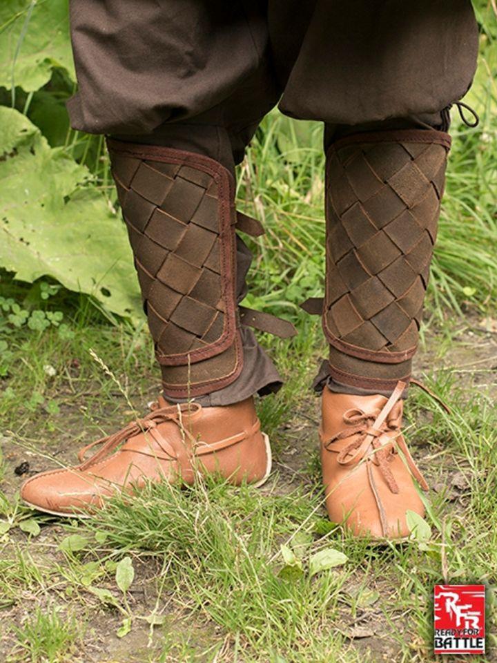 Wikinger-Beinschienen aus Leder braun