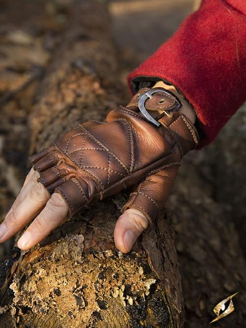 Keltische Lederhandschuhe braun