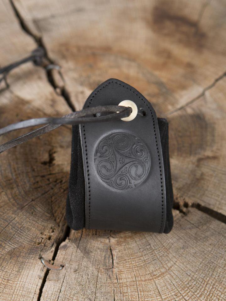 schwarzer Lederbeutel Triskele