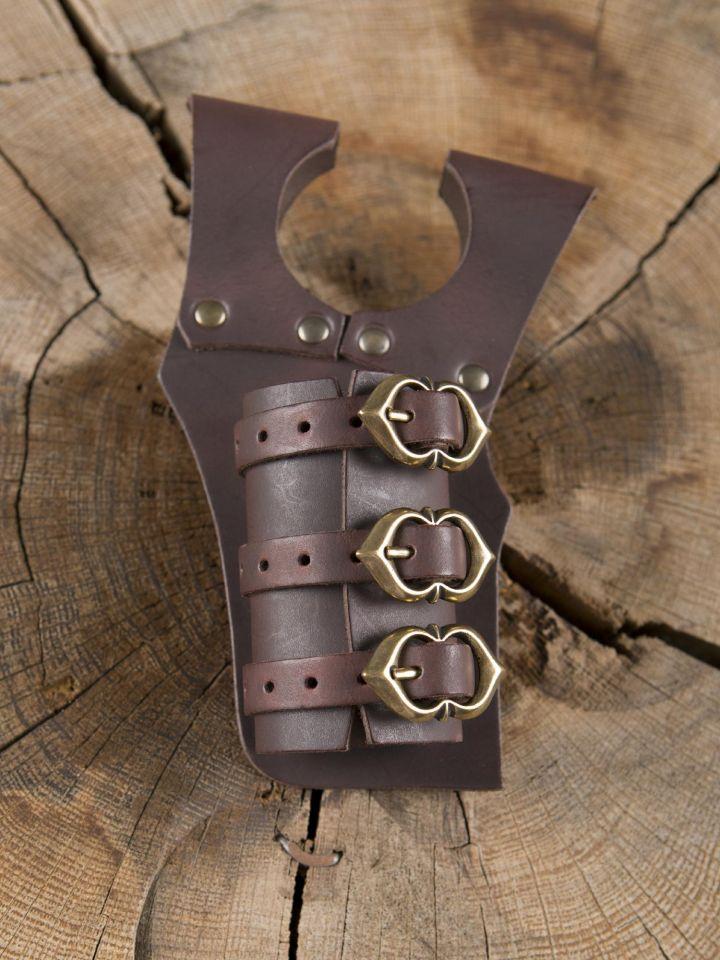 Schwerthalter mit 3 Schnallen braun