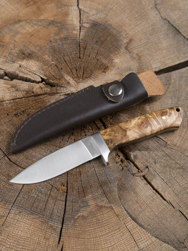 Jagdmesser mit Wurzelholzgriff und Lederscheide