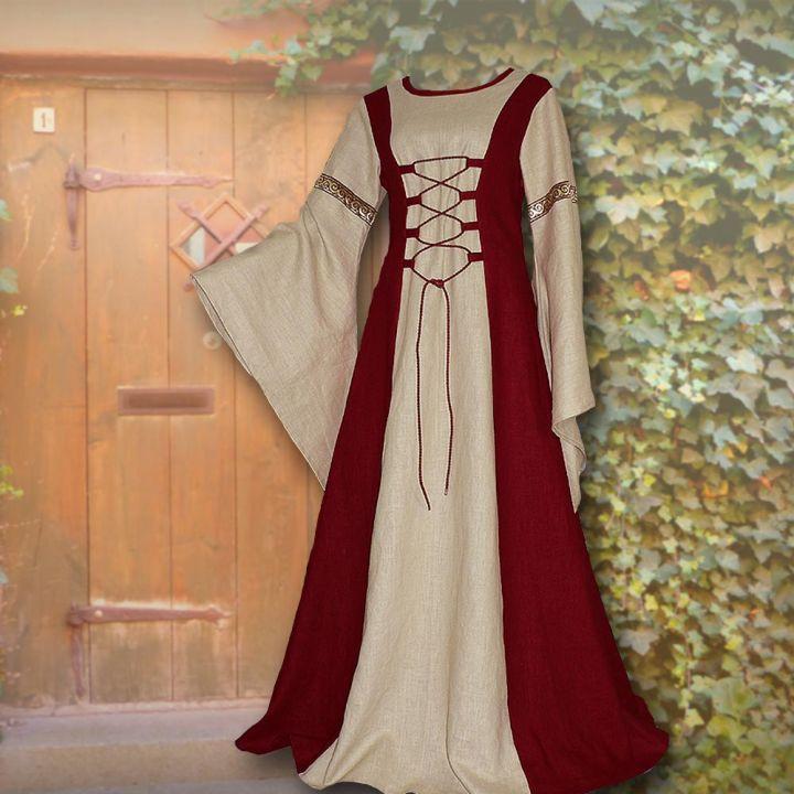 Kleid Katharina weinrot-sand