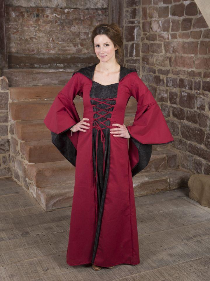 Mittelalterkleid Evanna schwarz-rot
