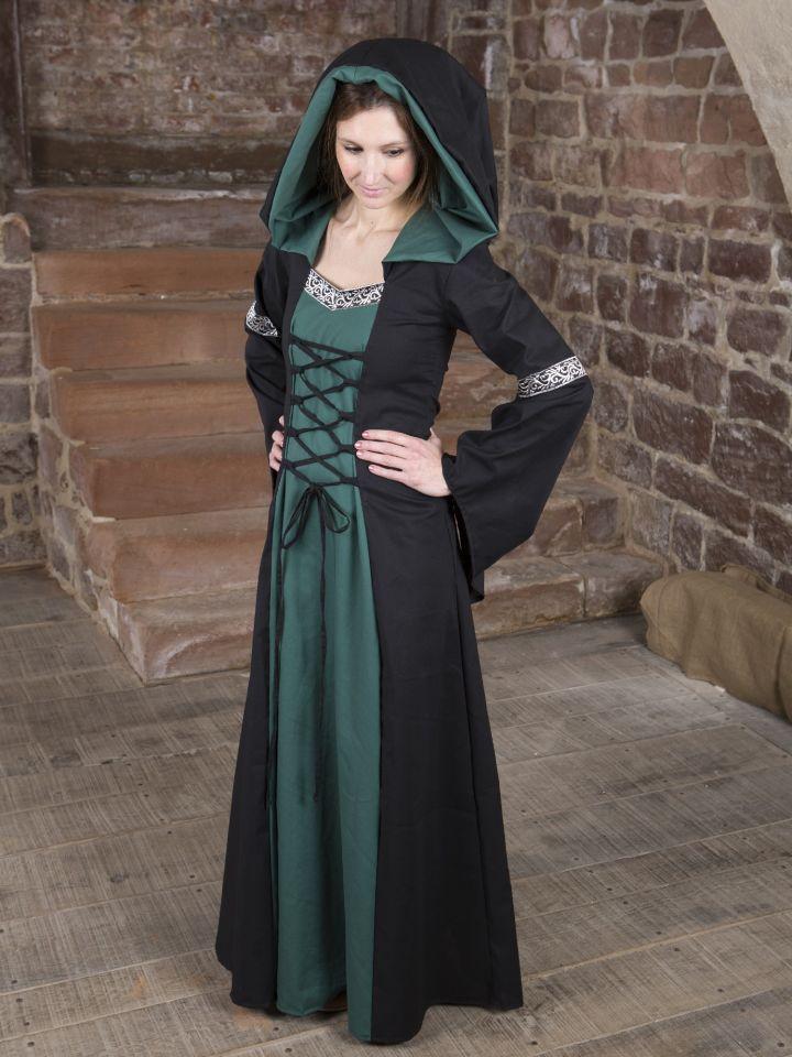 Mittelalterkleid Helena schwarz-grün