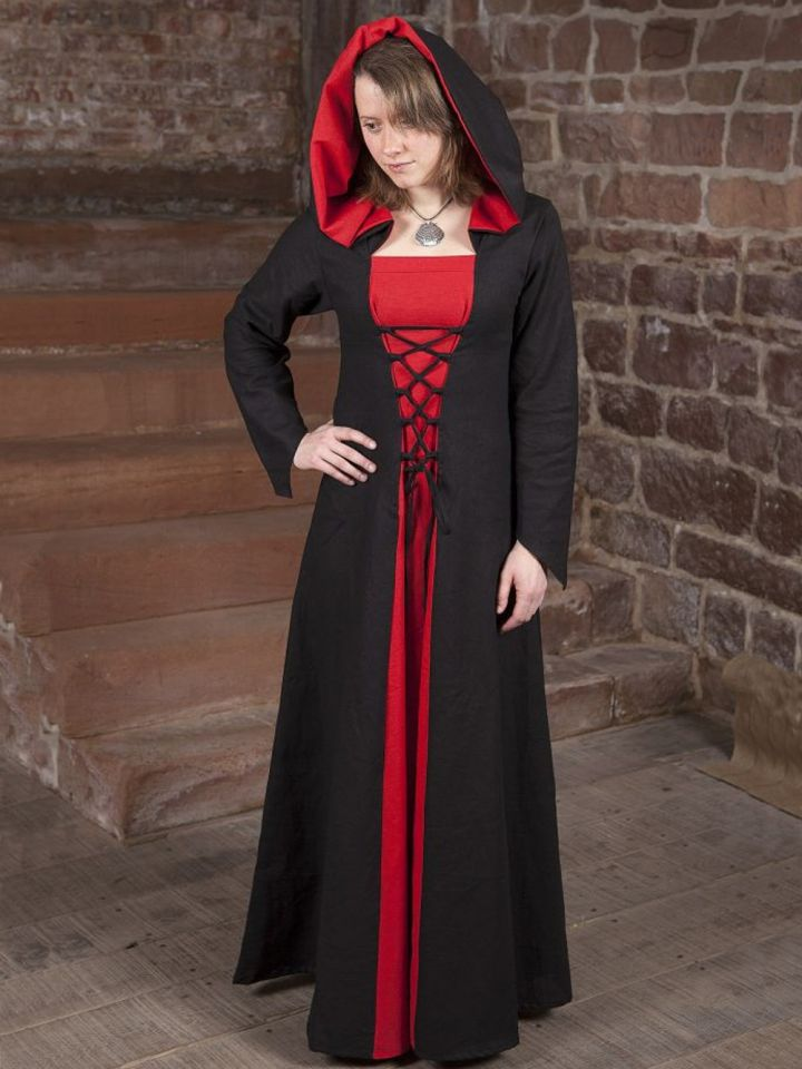 Mittelalterkleid Luna schwarz-rot