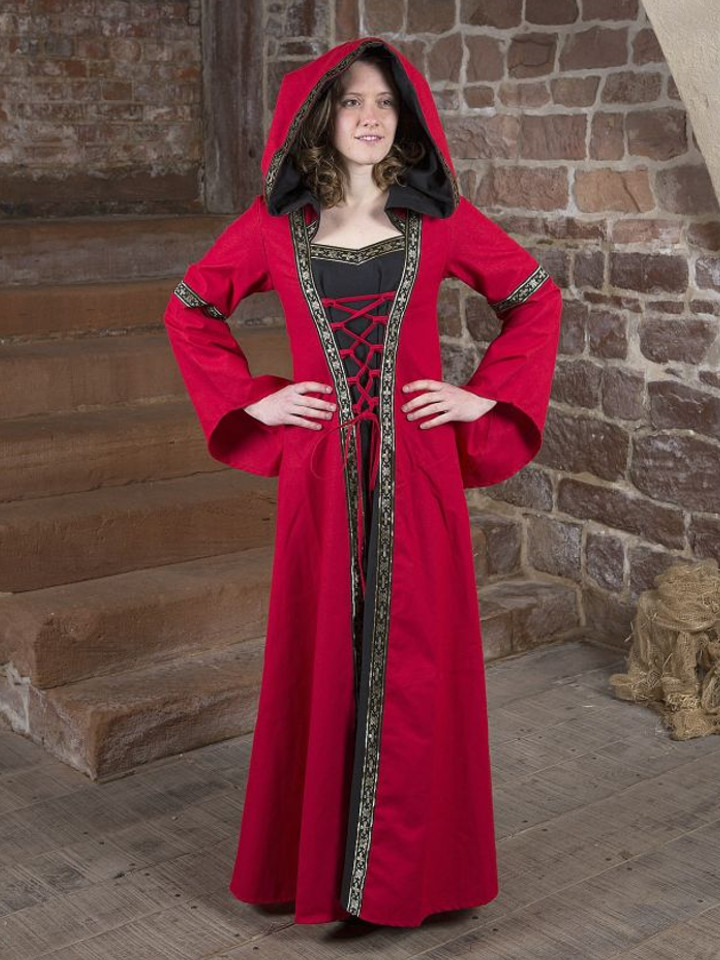 Mittelalterkleid Brida rot-schwarz