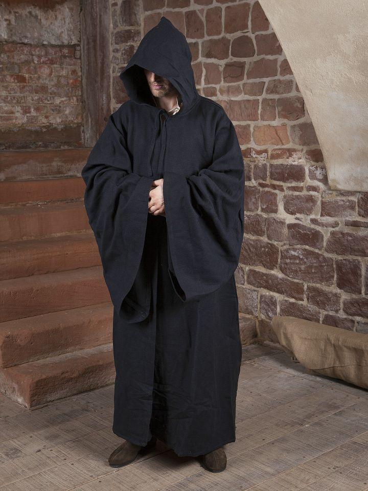 Magiermantel aus Baumwolle, schwarz