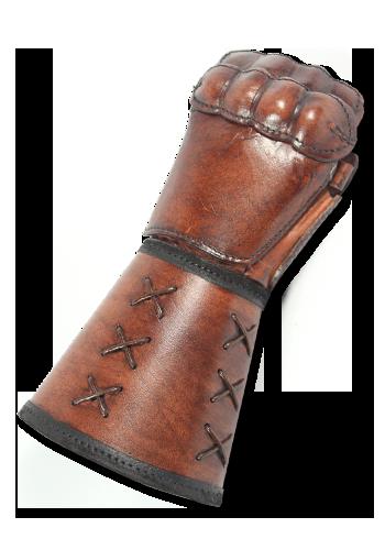 Brauner Panzerhandschuh aus Leder