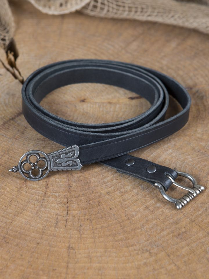 Mittelaltergürtel mit Endstück schwarz