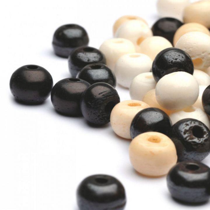 Runde Knochen-Perle 10 mm schwarz